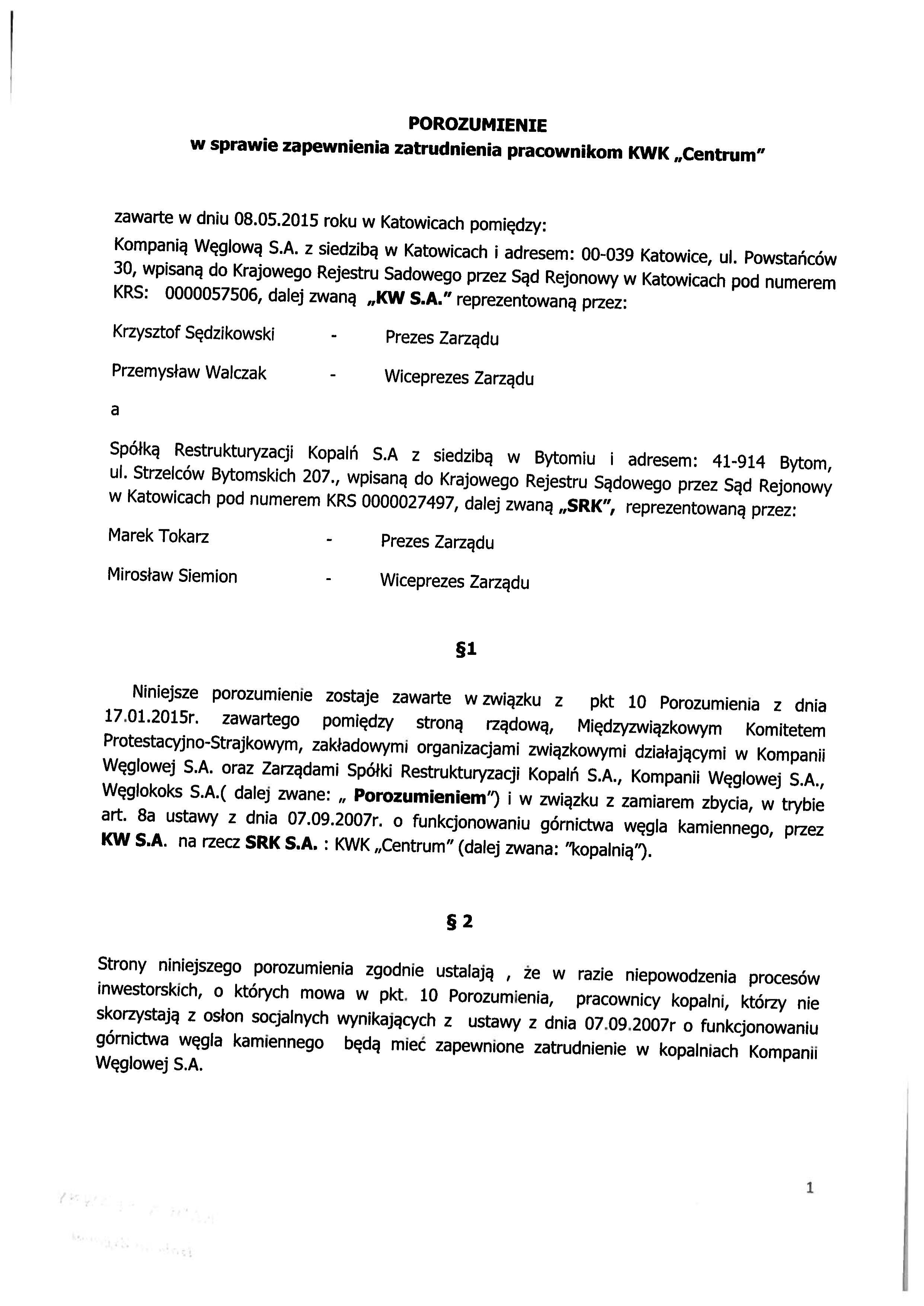 Porozumienie z SRK zapewnienie zatrudnienia Centrum 150508_01