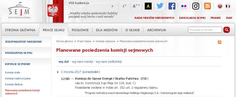 W SEJMIE O RESTRUKTURYZACJI KATOWICKIEGO HOLDINGU WĘGLOWEGO S.A.