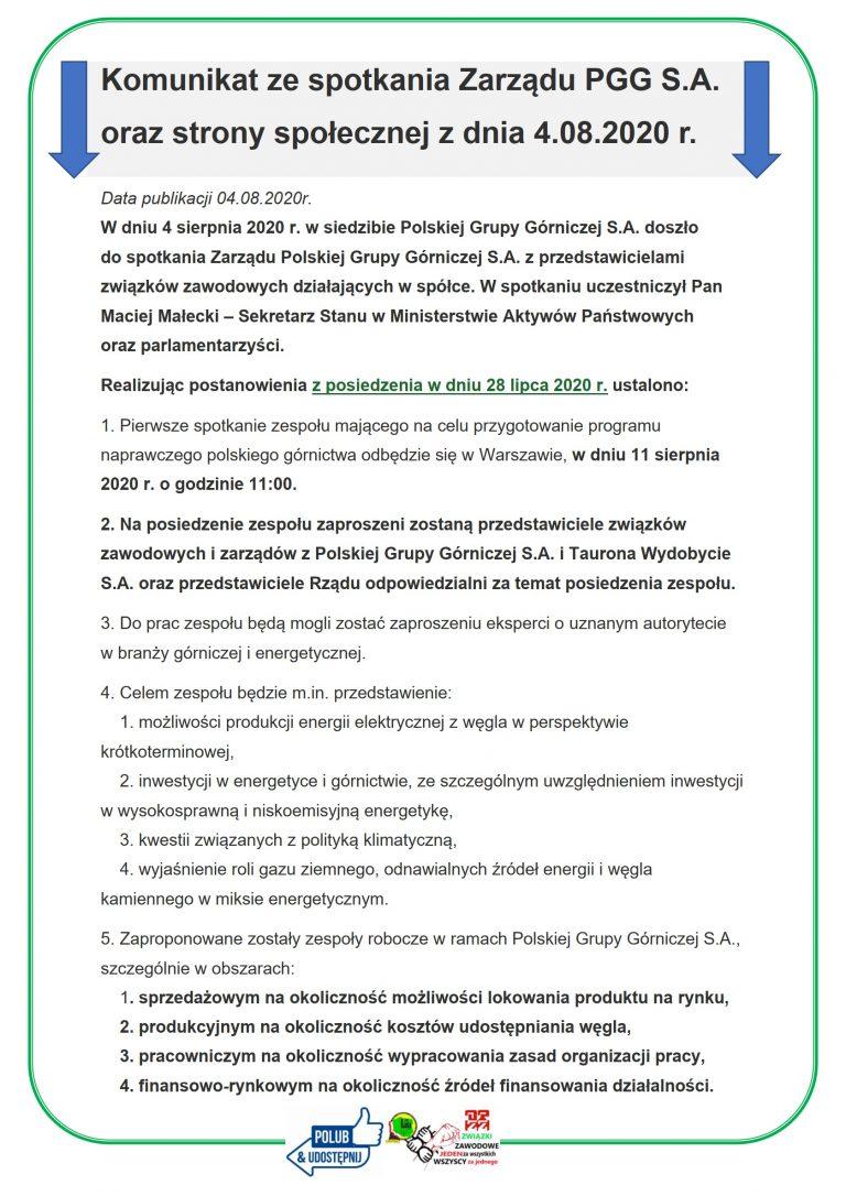 Komunikat ze spotkania Zarządu PGG S.A. oraz strony społecznej z dnia 4.08.2020 r.